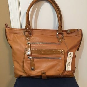 NWT Perlina of New York Leather Shoulder Bag